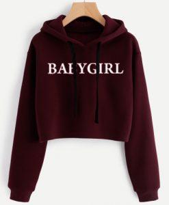 BABY GIRL Red Maroon Crop Hoodie