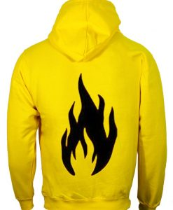 Black Flame Yellow back Hoodie
