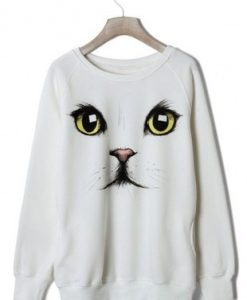 Cat Face White Colour Hoodie