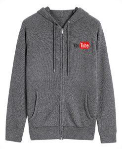 You Tube Logo Grey Dark zipper Hoodie