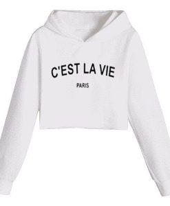 c'est la vie paris cropped hoodie