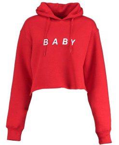 BABY CROP HOODIE RED