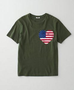 4th of July Heart American Flag Design Unisex T shirts