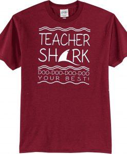 Teacher Shark Short Sleeve Unisex Maroon T-Shirt