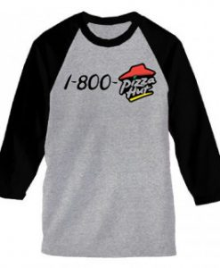 1-800-pizza hut baseball grey t shirts
