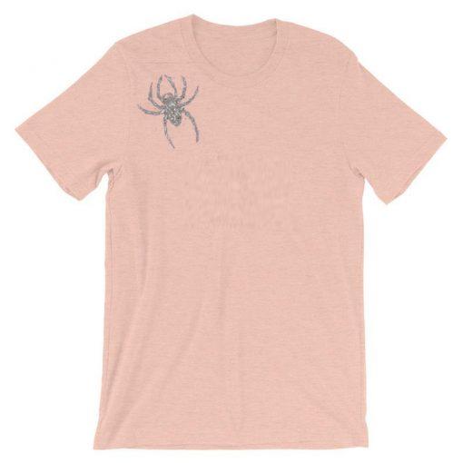 Spider Brooch Unisex T-shir Pink