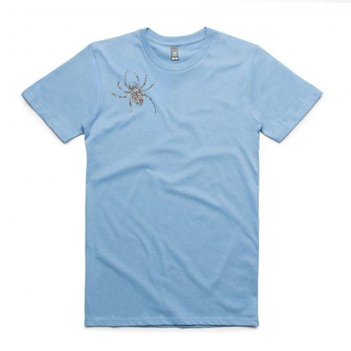 Spider Brooch Unisex T-shirt Blue Sea