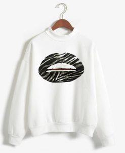 Zebra Lips white unisex sweatshirts
