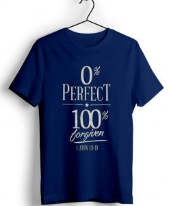 0% perfect 100% blue navy t shirts