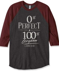 0% perfect 100% grey maroon sleeves raglan t shirts