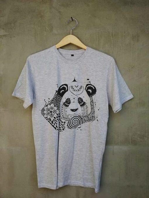 Mandala Panda grey t shirts