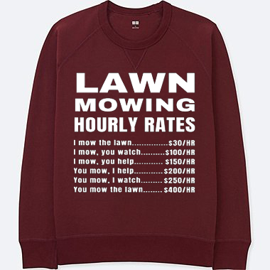 Lawn Mowing Hourly Rates Price List Grass Maroon Sweatshirt
