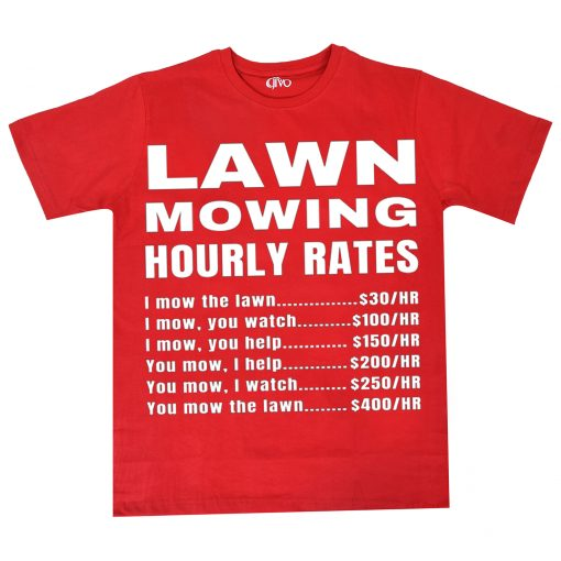 Lawn Mowing Hourly Rates Price List Grass Red T-Shirt
