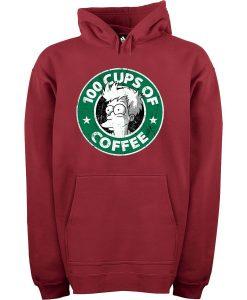 100 CUPS OF COFFEE Maroon Hoodie