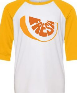 Fresh White Yellow Raglan Tshirts