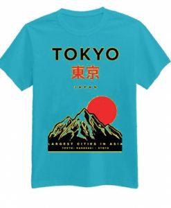 Tokyo Japan Mountain Fuji Blue Mint T shirts